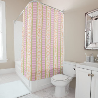 Striped Pink Floral Green Polka Dots Shower Curtain