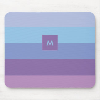 Striped Purple and Blue Palette with Monogram Mouse Mat