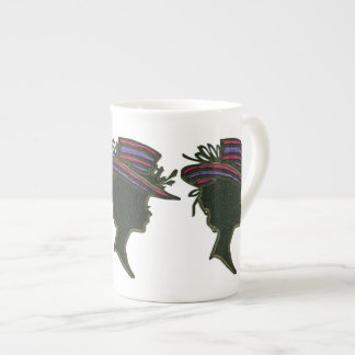 Striped Purple & Red Hat Cameo Bone China Mug