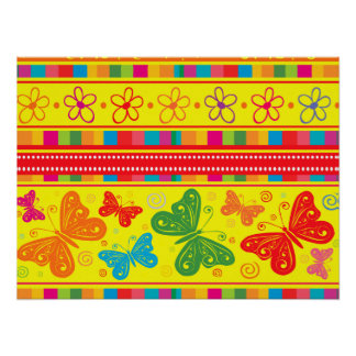Striped Rainbow Butterflies Flowers And Hearts Poster