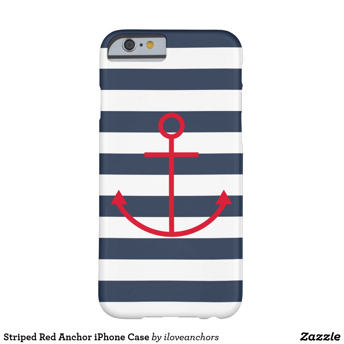 Striped Red Anchor iPhone Case