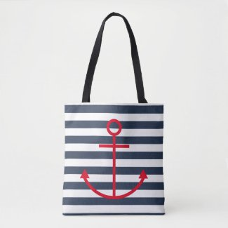 Striped Red Anchor Tote Bag