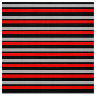 Striped Red Black & Silver Custom Fabric