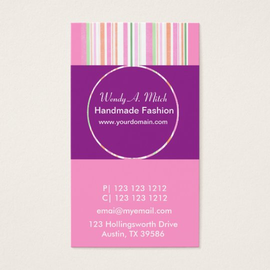 STRIPED RETRO CUTE Girly Purple Passion Feminine Business Card