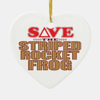 Striped Rocket Frog Save Ceramic Heart Decoration