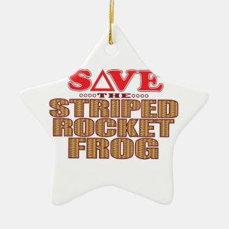 Striped Rocket Frog Save Ceramic Star Decoration