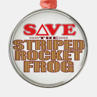Striped Rocket Frog Save Christmas Ornament