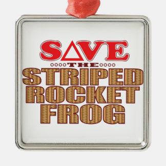 Striped Rocket Frog Save Christmas Ornament