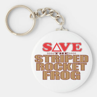 Striped Rocket Frog Save Key Ring