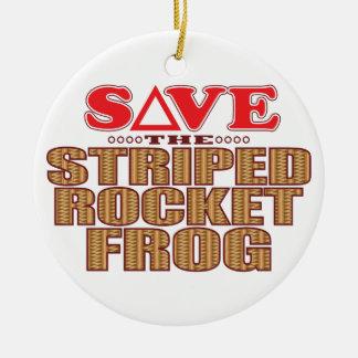 Striped Rocket Frog Save Round Ceramic Decoration