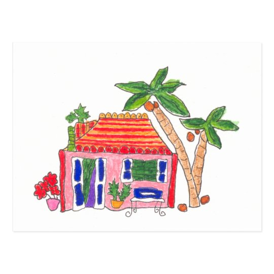 Striped Roof House Postcard
