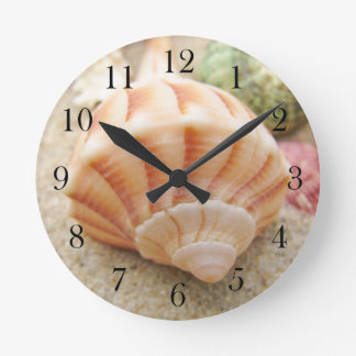 Striped Sea Shell Lightning Whelk Round Clock