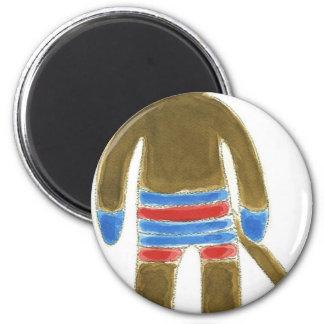 Striped Sock Monkey 6 Cm Round Magnet