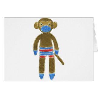 Striped Sock Monkey Greeting Card