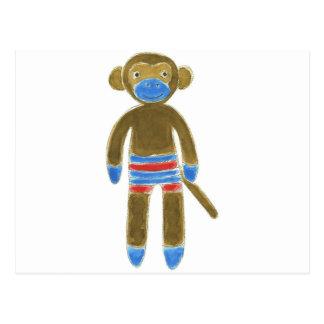 Striped Sock Monkey Postcard