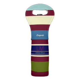 striped & sophisticated, elegant monogram wine bag
