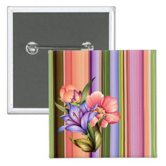 Striped Spring Bouquet Button