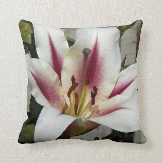 Striped Stargazer Lily Floral Cushion