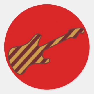 Striped Stratocaster Guitar Design Round Sticker