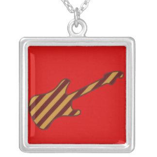 Striped Stratocaster Guitar Design Square Pendant Necklace