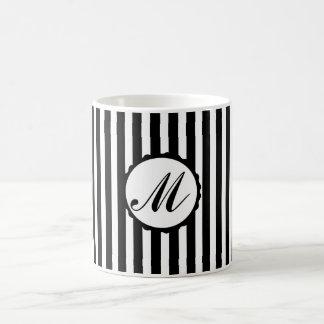 Striped Stripe Black White Custom Monogram Mug