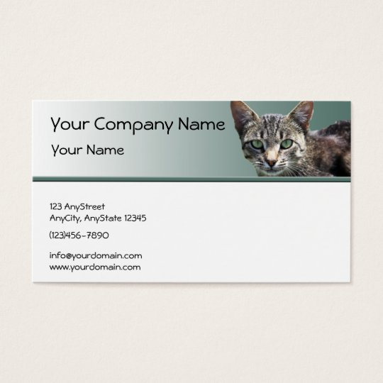 Striped Tabby with Green Eyes on Green Gradient Business Card