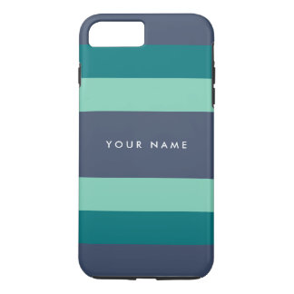 Striped Teal & Blue Custom iPhone 8 Plus/7 Plus Case