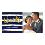 Striped Thanks | Faux Gold Foil Photo Thank You Personalised Photo Card