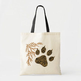 Striped Tiger Paws Tote Bag