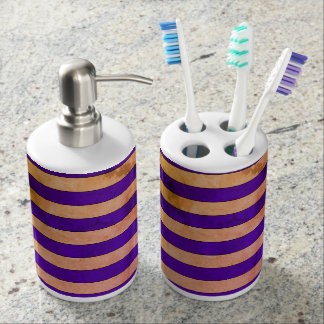 Striped Toothbrush Holder and Soap Dispenser Set