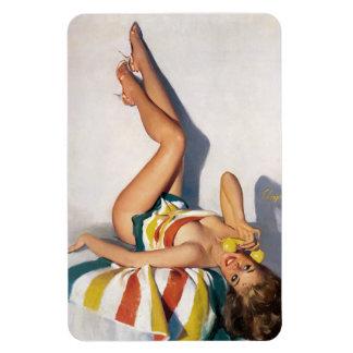 Striped Towel Pin Up Rectangular Photo Magnet