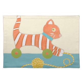 Striped Toy Cat with Ball of String Placemat