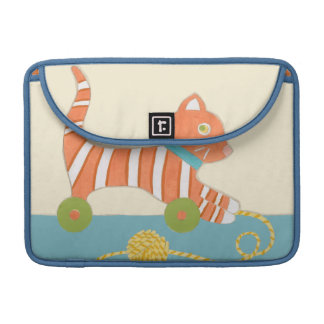 Striped Toy Cat with Ball of String Sleeve For MacBook Pro