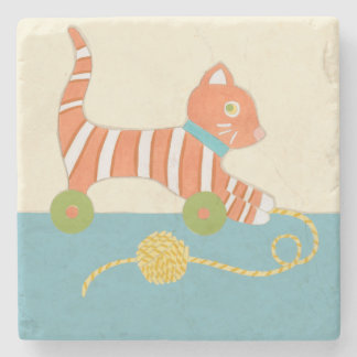 Striped Toy Cat with Ball of String Stone Beverage Coaster