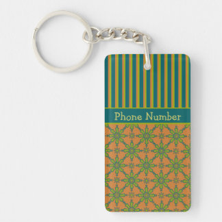 Striped Tribal Rust, Green, Teal Acrylic Keychain