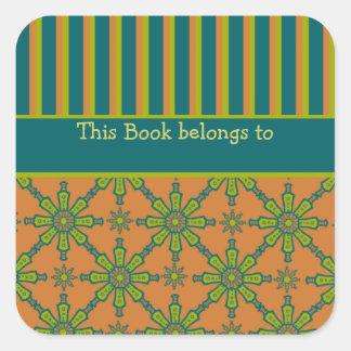 Striped Tribal Rust, Green, Teal Bookplates Square Sticker