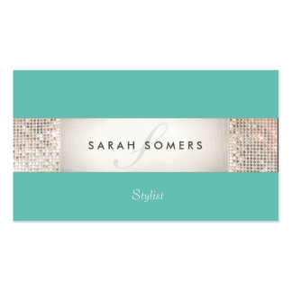 Striped Turquoise FAUX Silver Sequin Monogram 2 Pack Of Standard Business Cards