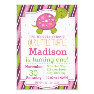 Striped Turtle Birthday Invitation (pink)