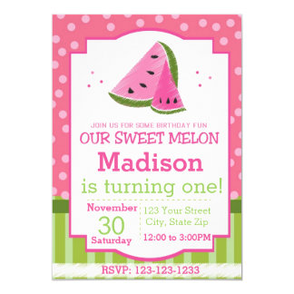 Striped Watermelon Birthday Invitation