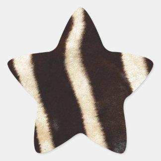 Striped Zebra Skin Star Sticker