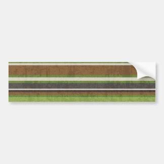 stripes69 GREEN BROWN BEIGE STRIPES RETRO COLORS B Bumper Sticker