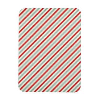 stripes73 red green cream stripes candycane diagon rectangular magnets