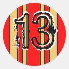 Stripes 13 classic round sticker