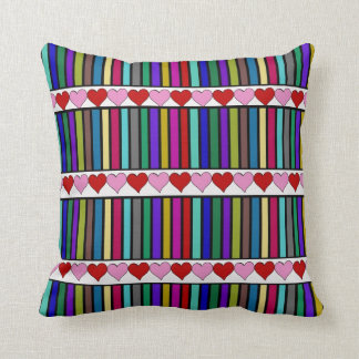 Stripes and 3 rows of hearts pillow cushions