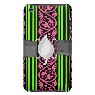 stripes and damask lime green hot pink iPod Case-Mate cases