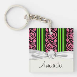 stripes and damask lime green hot pink Double-Sided square acrylic key ring