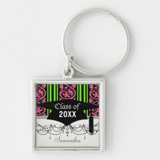 stripes and damask lime green hot pink Silver-Colored square key ring