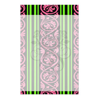 stripes and damask lime green hot pink personalised stationery