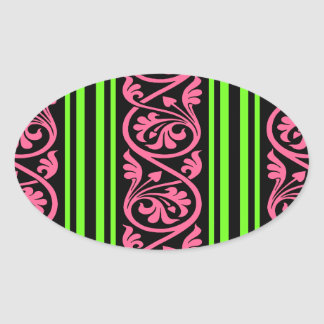 stripes and damask lime green hot pink oval stickers