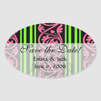 stripes and damask lime green hot pink oval sticker